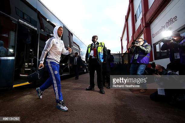 Eden Hazard of Chelsea gets off the team coach before the Barclays Premier League match between Stoke City and Chelsea at the Britannia Stadium on...