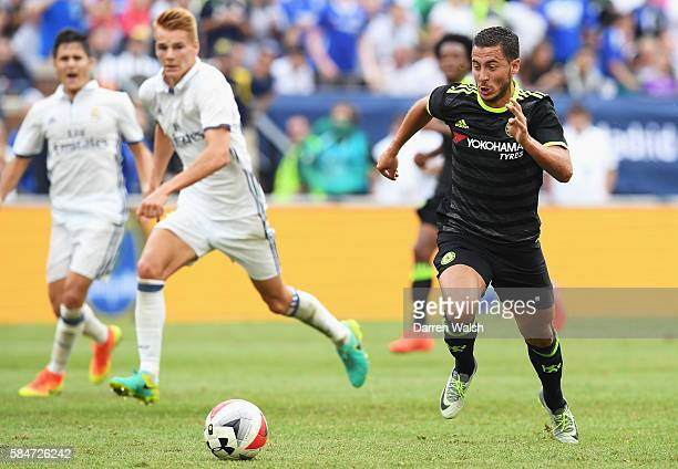Eden Hazard of Chelsea in action during the 2016 International Champions Cup match between Real Madrid and Chelsea at Michigan Stadium on July 30...