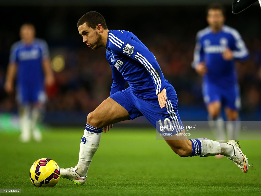 Eden Hazard of Chelsea in action during the Barclays Premier League match between Chelsea and Newcastle United at Stamford Bridge on January 10, 2015 in London, England.