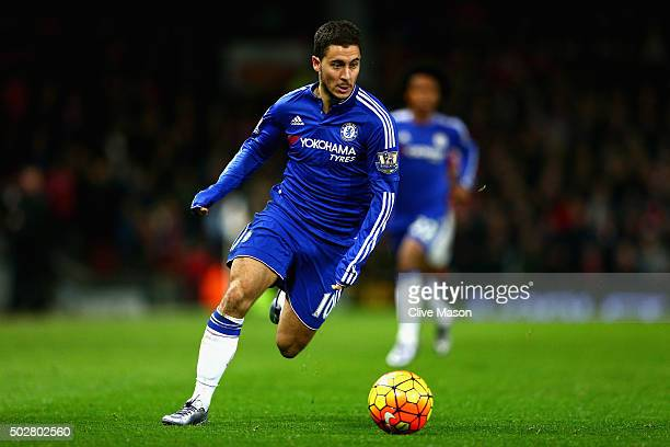 Eden Hazard of Chelsea in action during the Barclays Premier League match between Manchester United and Chelsea at Old Trafford on December 28 2015...