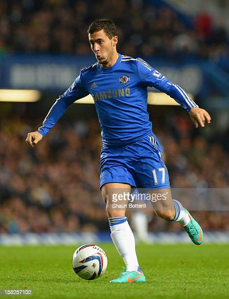 Eden Hazard of Chelsea in action during the Capital One Cup Fourth Round match between Chelsea and Manchester United at Stamford Bridge on October 31...