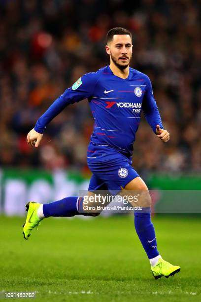 Eden Hazard of Chelsea in action during the Carabao Cup Semi Final First Leg between Tottenham Hotspur and Chelsea at Wembley Stadium on January 08...