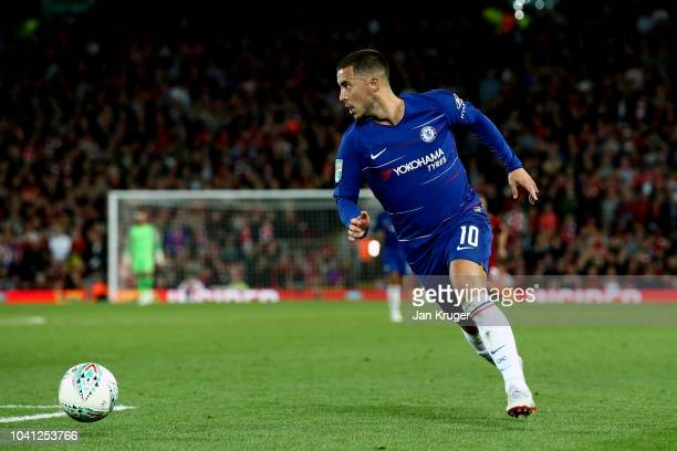 Eden Hazard of Chelsea in action during the Carabao Cup Third Round match between Liverpool and Chelsea at Anfield on September 26 2018 in Liverpool...