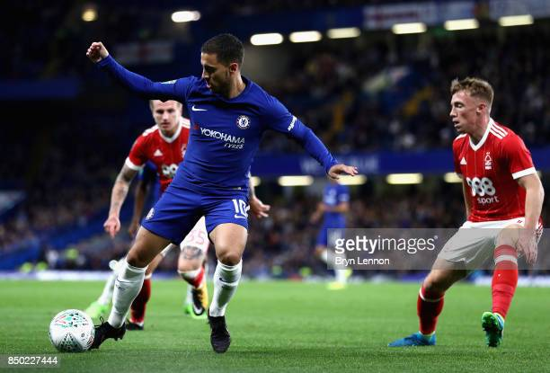 Eden Hazard of Chelsea in action during the Carabao Cup Third Round match between Chelsea and Nottingham Forest at Stamford Bridge on September 19...