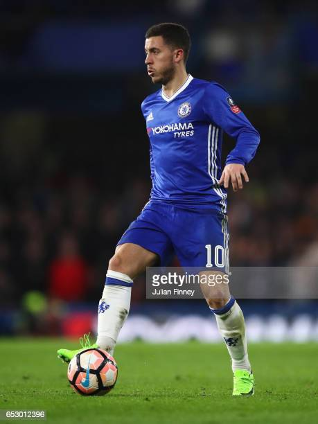 Eden Hazard of Chelsea in action during The Emirates FA Cup QuarterFinal match between Chelsea and Manchester United at Stamford Bridge on March 13...