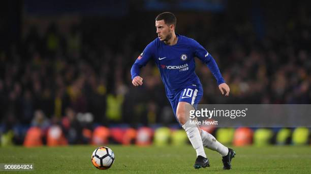 Eden Hazard of Chelsea in action during The Emirates FA Cup Third Round Replay between Chelsea and Norwich City at Stamford Bridge on January 17 2018...