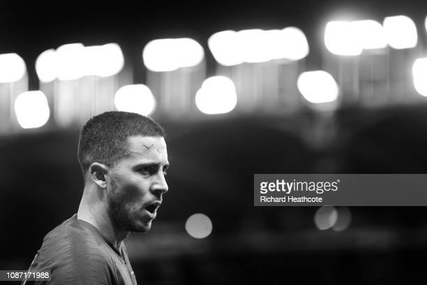 Eden Hazard of Chelsea in action during the Premier League match between Watford FC and Chelsea FC at Vicarage Road on December 26 2018 in Watford...