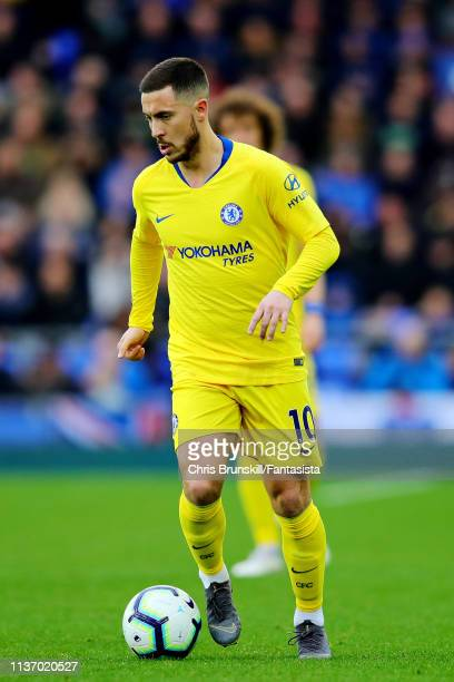 Eden Hazard of Chelsea in action during the Premier League match between Everton FC and Chelsea FC at Goodison Park on March 17 2019 in Liverpool...