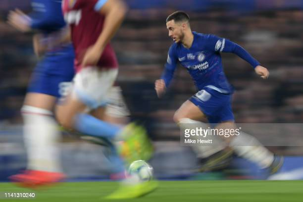 Eden Hazard of Chelsea in action during the Premier League match between Chelsea FC and West Ham United at Stamford Bridge on April 08 2019 in London...