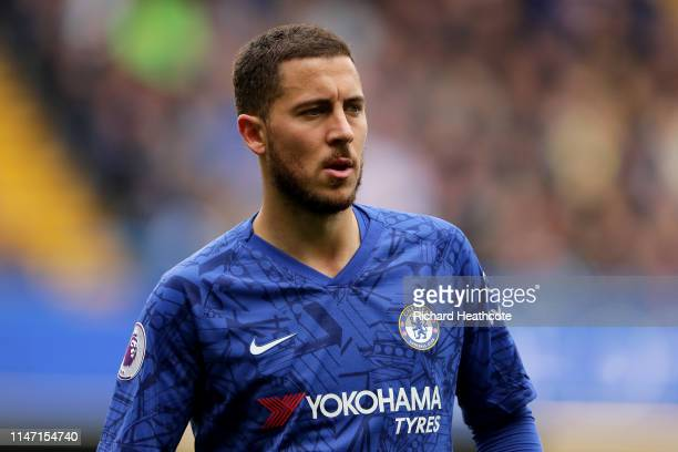 Eden Hazard of Chelsea in action during the Premier League match between Chelsea FC and Watford FC at Stamford Bridge on May 05 2019 in London United...
