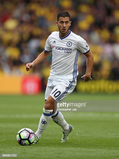 Eden Hazard of Chelsea in action during the Premier League match between Watford and Chelsea at Vicarage Road on August 20 2016 in Watford England