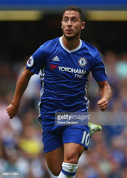 Eden Hazard of Chelsea in action during the Premier League match between Chelsea and Burnley at Stamford Bridge on August 27 2016 in London England