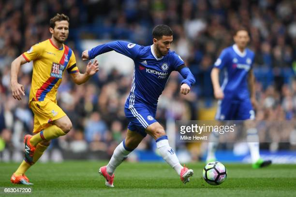 Eden Hazard of Chelsea in action during the Premier League match between Chelsea and Crystal Palace at Stamford Bridge on April 1 2017 in London...
