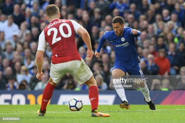 Eden Hazard of Chelsea in action during the Premier League match between Chelsea and Arsenal at Stamford Bridge on September 17 2017 in London England