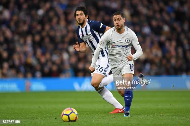 Eden Hazard of Chelsea in action during the Premier League match between West Bromwich Albion and Chelsea at The Hawthorns on November 18 2017 in...
