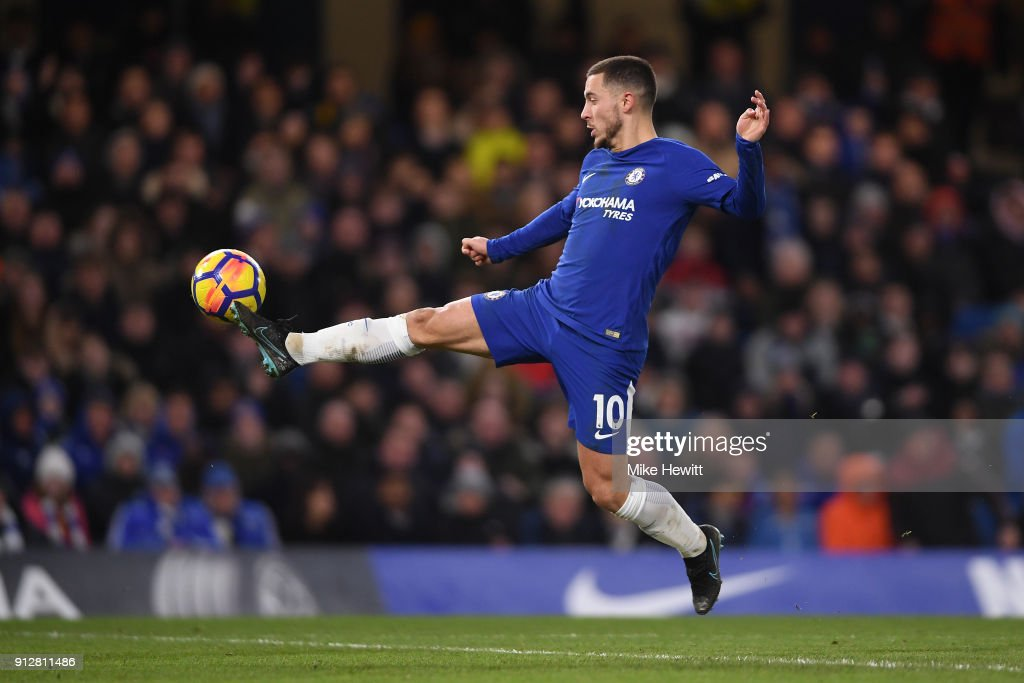 Eden Hazard of Chelsea in action during the Premier League match between Chelsea and AFC Bournemouth at Stamford Bridge on January 31, 2018 in London, England.