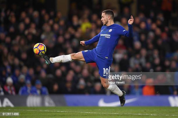 Eden Hazard of Chelsea in action during the Premier League match between Chelsea and AFC Bournemouth at Stamford Bridge on January 31 2018 in London...