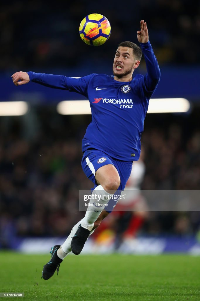 Eden Hazard of Chelsea in action during the Premier League match between Chelsea and West Bromwich Albion at Stamford Bridge on February 12, 2018 in London, England.