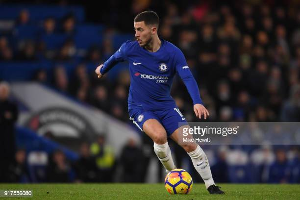 Eden Hazard of Chelsea in action during the Premier League match between Chelsea and West Bromwich Albion at Stamford Bridge on February 12 2018 in...