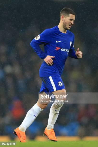 Eden Hazard of Chelsea in action during the Premier League match between Manchester City and Chelsea at the Etihad Stadium on March 4 2018 in...