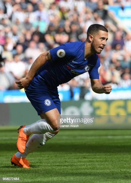 Eden Hazard of Chelsea in action during the Premier League match between Newcastle United and Chelsea at St James Park on May 13 2018 in Newcastle...