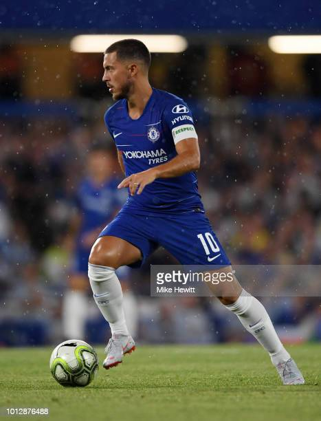 Eden Hazard of Chelsea in action during the preseason friendly match between Chelsea and Lyon at Stamford Bridge on August 7 2018 in London England