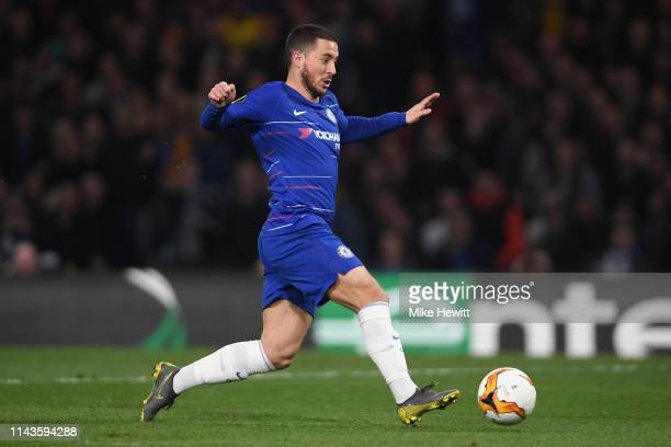 Eden Hazard of Chelsea in action during the UEFA Europa League Quarter Final Second Leg match between Chelsea and Slavia Praha at Stamford Bridge on...