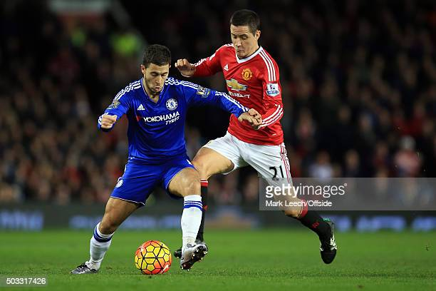 Eden Hazard of Chelsea in action with Ander Herrera of Manchester United during the Barclays Premier League match between Manchester United and...