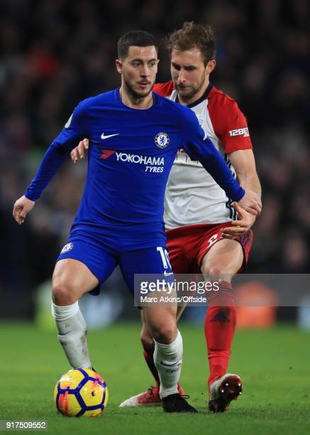 Eden Hazard of Chelsea in action with Craig Dawson of West Bromwich Albion during the Premier League match between Chelsea and West Bromwich Albion...