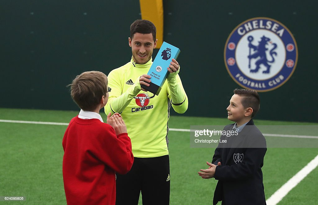 Eden Hazard of Chelsea is awarded the October Player of the Month at the Chelsea Training Ground on November 17, 2016 in Cobham, England.
