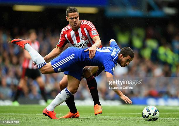 Eden Hazard of Chelsea is brought down by Jack Rodwell of Sunderland during the Barclays Premier League match between Chelsea and Sunderland at...