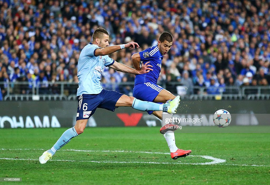 Eden Hazard of Chelsea is challenged by Nikola Petkovic of Sydney FC during the international friendly match between Sydney FC and Chelsea FC at ANZ Stadium on June 2, 2015 in Sydney, Australia.