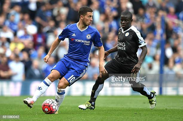 Eden Hazard of Chelsea is closed down by N'Golo Kante of Leicester City during the Barclays Premier League match between Chelsea and Leicester City...