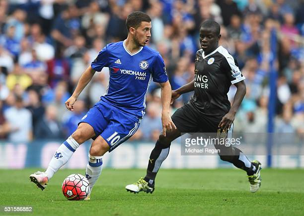 Eden Hazard of Chelsea is closed down by Ngolo Kante of Leicester City during the Barclays Premier League match between Chelsea and Leicester City at...