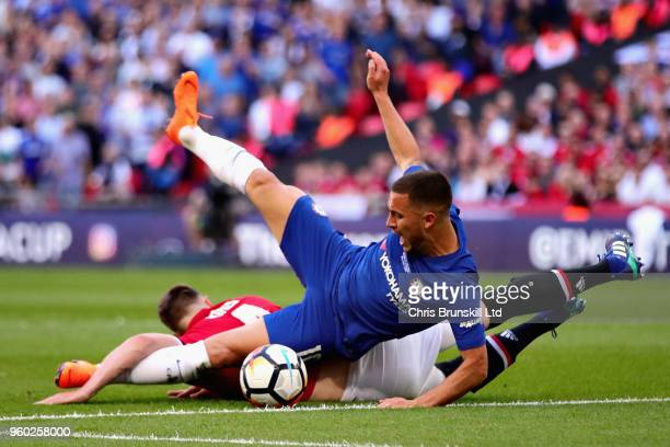Eden Hazard of Chelsea is fouled by Phil Jones of Manchester United in the penalty area during the Emirates FA Cup Final between Chelsea and...