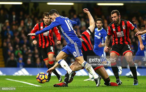 Eden Hazard of Chelsea is fouled by Simon Francis of AFC Bournemouth to award a penalty to Chelsea during the Premier League match between Chelsea...
