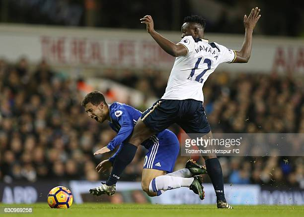 Eden Hazard of Chelsea is fouled by Victor Wanyama of Tottenham Hotspur during the Premier League match between Tottenham Hotspur and Chelsea at...