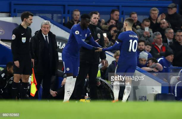 Eden Hazard of Chelsea is substiuted by Tiemoue Bakayoko of Chelsea during the Premier League match between Chelsea and Crystal Palace at Stamford...