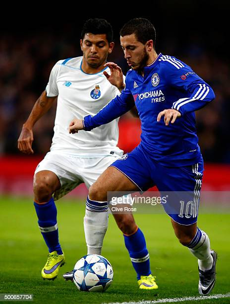 Eden Hazard of Chelsea is tackled and Jesus Manuel Corona of FC Porto during the UEFA Champions League Group G match between Chelsea FC and FC Porto...