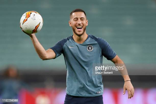 Eden Hazard of Chelsea laughs during the Chelsea FC training session on the eve of the UEFA Europa League Final against Arsenal at Baku Olimpiya...
