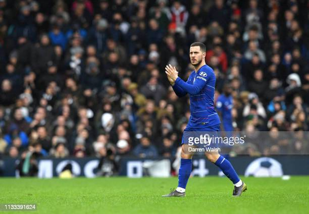 Eden Hazard of Chelsea leaves the pitch during the Premier League match between Fulham FC and Chelsea FC at Craven Cottage on March 03 2019 in London...