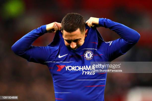 Eden Hazard of Chelsea looks dejected after the Carabao Cup Semi Final First Leg between Tottenham Hotspur and Chelsea at Wembley Stadium on January...
