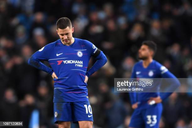 Eden Hazard of Chelsea looks dejected during the Premier League match between Manchester City and Chelsea FC at Etihad Stadium on February 10 2019 in...