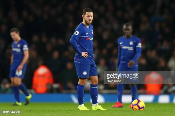 Eden Hazard of Chelsea looks dejected following Arsenal's second goal during the Premier League match between Arsenal FC and Chelsea FC at Emirates...