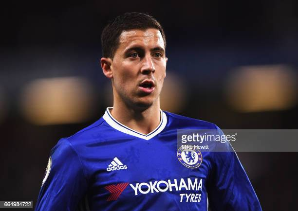Eden Hazard of Chelsea looks on during the Premier League match between Chelsea and Manchester City at Stamford Bridge on April 5 2017 in London...