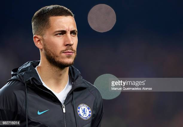 Eden Hazard of Chelsea looks on prior to the UEFA Champions League Round of 16 Second Leg match between FC Barcelona and Chelsea FC at Camp Nou on...