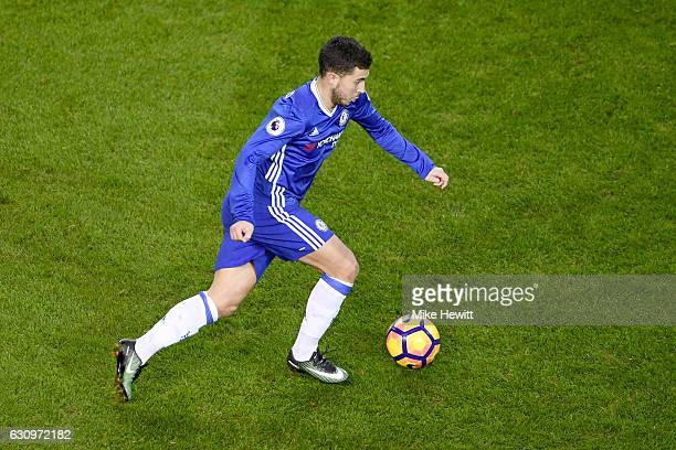 Eden Hazard of Chelsea on the ball during the Premier League match between Tottenham Hotspur and Chelsea at White Hart Lane on January 4 2017 in...