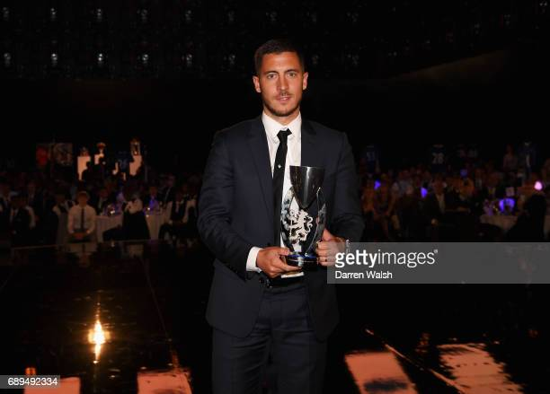 Eden Hazard of Chelsea poses with the Player of The Year award during the Chelsea Player of the Year awards at Battersea Evolution on May 28 2017 in...