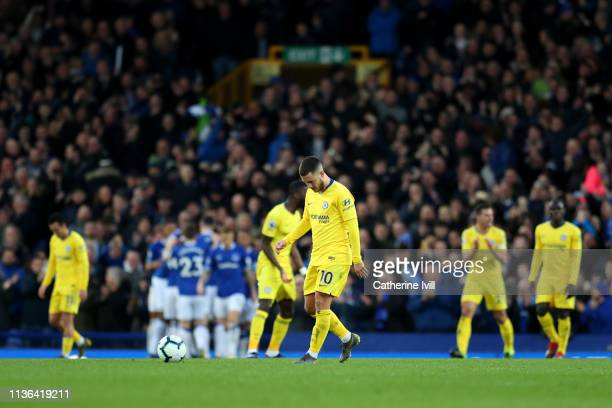 Eden Hazard of Chelsea reacts after Everton score their second goal during the Premier League match between Everton FC and Chelsea FC at Goodison...