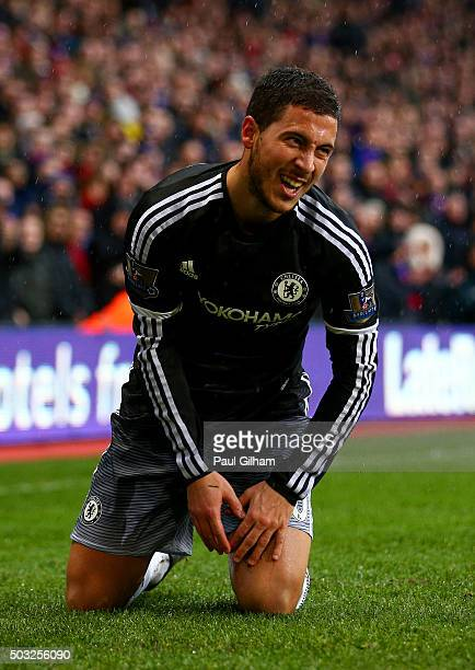 Eden Hazard of Chelsea reacts during the Barclays Premier League match between Crystal Palace and Chelsea at Selhurst Park on January 3 2016 in...